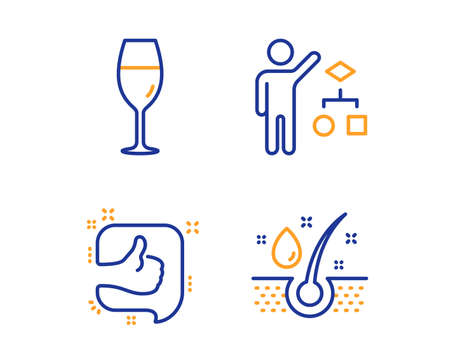 Algorithm, Like and Wineglass icons simple set. Serum oil sign. Developers job, Thumb up, Burgundy glass. Healthy hairs. Business set. Linear algorithm icon. Colorful design set. Vector