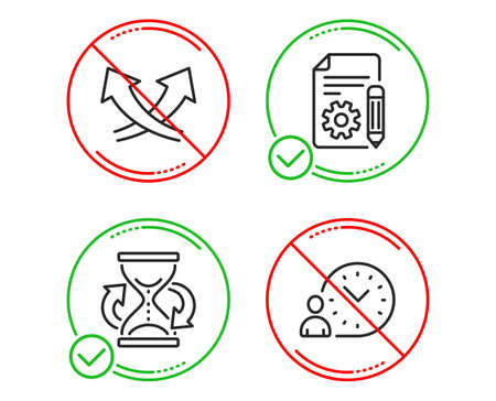 Do or Stop. Documentation, Hourglass and Intersection arrows icons simple set. Time management sign. Project, Sand watch, Exchange. Work time. Line documentation do icon. Prohibited ban stop. Vector Illusztráció