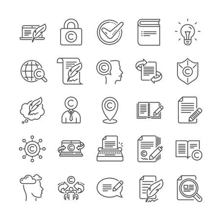 Copywriting book line icons. Set of Signature, Copyright protection and Feedback icons. Typewriter, Idea and message copywriting. Write book, legal copyright, content author. Light bulb. Vector