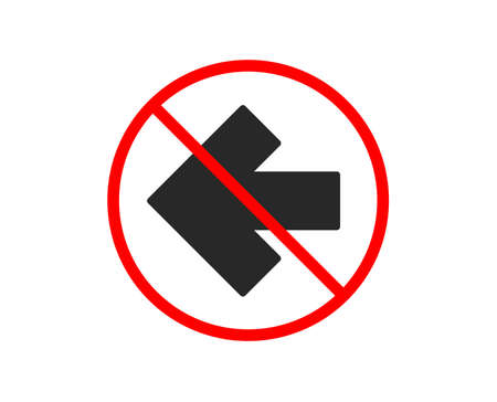 No or Stop. Left arrow icon. Direction Arrowhead symbol. Navigation pointer sign. Prohibited ban stop symbol. No left arrow icon. Vector Illustration