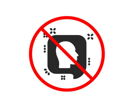 No or Stop. Head icon. Human profile speech bubble sign. Facial identification symbol. Prohibited ban stop symbol. No head icon. Vector