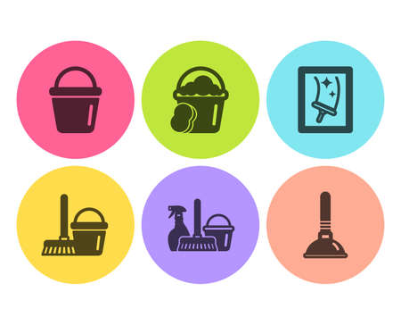 Bucket, Bucket with mop and Sponge icons simple set. Household service, Window cleaning and Plunger signs. Washing equipment, Cleaner equipment. Cleaning set. Flat bucket icon. Circle button. Vector Stock Illustratie