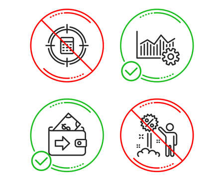 Do or Stop. Operational excellence, Wallet and Calculator target icons simple set. Discount sign. Corporate business, Money payment, Audit. Sale shopping. Finance set. Vector