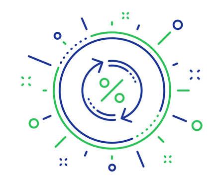 Loan percent update line icon. Discount sign. Credit percentage rate symbol. Quality design elements. Technology loan percent button. Editable stroke. Vector Ilustração