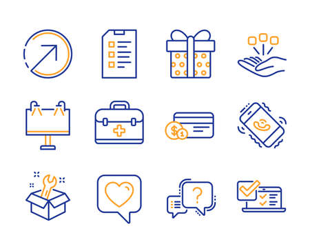 Direction, Consolidation and Spanner icons simple set. Checklist, Road banner and Gift box signs. Heart, First aid and Payment method symbols. Question mark, Call center and Online survey. Vector Illustration