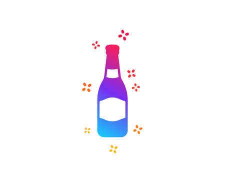 Beer bottle icon. Pub Craft beer sign. Brewery beverage symbol. Dynamic shapes. Gradient design beer bottle icon. Classic style. Vector  イラスト・ベクター素材