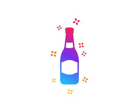 Beer bottle icon. Pub Craft beer sign. Brewery beverage symbol. Dynamic shapes. Gradient design beer bottle icon. Classic style. Vector Ilustração