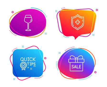 Medical shield, Bordeaux glass and Quick tips icons simple set. Sale offer sign. Medicine protection, Wine glass, Helpful tricks. Gift box. Speech bubble medical shield icon. Vector Illustration