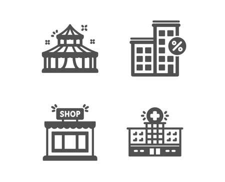 Set of Loan house, Shop and Circus icons. Hospital building sign. Discount percent, Store, Attraction park. Medical help.  Classic design loan house icon. Flat design. Vector Illustration