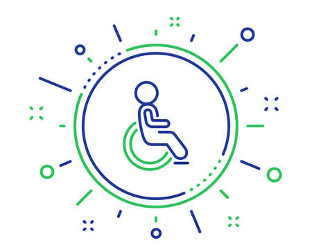 Disabled line icon. Handicapped wheelchair sign. Person transportation symbol. Quality design elements. Technology disabled button. Editable stroke. Vector