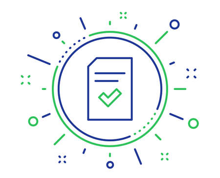 Checked Document line icon. Information File with Check sign. Correct Paper page concept symbol. Quality design elements. Technology checked file button. Editable stroke. Vector
