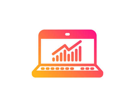 Data Analysis and Statistics icon. Report graph or Chart sign. Computer data processing symbol. Classic flat style. Gradient online statistics icon. Vector