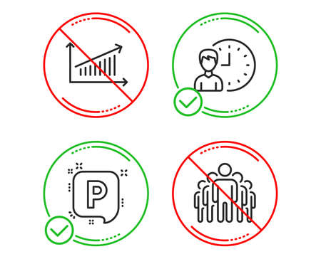 Do or Stop. Working hours, Chart and Parking icons simple set. Group sign. Project deadline, Presentation chart, Auto park. Managers. Business set. Line working hours do icon. Prohibited ban stop Archivio Fotografico - 121772262
