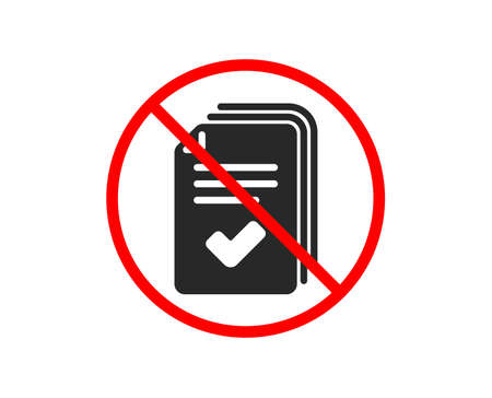 No or Stop. Handout icon. Documents example sign. Prohibited ban stop symbol. No handout icon. Vector Illusztráció