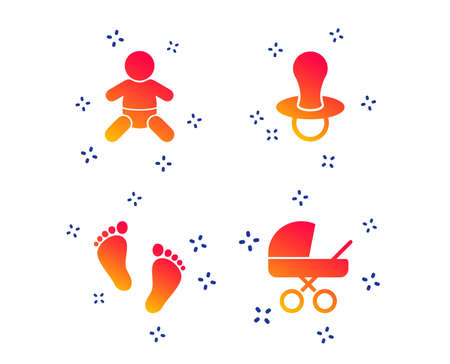 Baby infants icons. Toddler boy with diapers symbol. Buggy and dummy signs. Child pacifier and pram stroller. Child footprint step sign. Random dynamic shapes. Gradient newborn icon. Vector