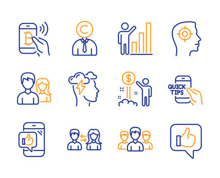 Mobile like, Copyrighter and Teamwork icons simple set. Mindfulness stress, Group and Bitcoin pay signs. Education, Graph chart and Income money symbols. Line mobile like icon. Colorful set. Vector Stock Illustratie