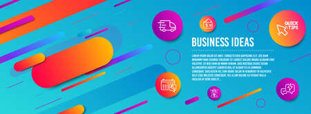 Header banner. Quick tips, Support consultant and Spanner icons simple set. Wallet, Truck delivery and Lightning bolt signs. Helpful tricks, Question mark. Business set. Line quick tips icon. Vector