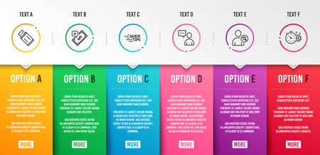 Education, Users chat and Rejected payment icons simple set. Find user, Usb flash and Cogwheel timer signs. Quick tips, Communication concept. Business set. Infographic template. 6 steps timeline Illustration