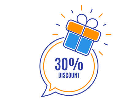 30% Discount. Sale offer price sign. Special offer symbol. Loyalty sale tag. Speech bubble banner. Gift box badge. Vector