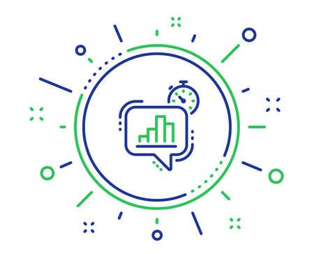 Diagram chart line icon. Statistics timer sign. Market analytics symbol. Quality design elements. Technology statistics timer button. Editable stroke. Vector
