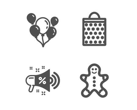 Set of Sale megaphone, Shopping bag and Balloons icons. Gingerbread man sign. Shopping, Paper package, Air balloons. Christmas cookie.  Classic design sale megaphone icon. Flat design. Vector