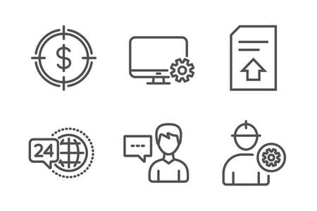 Dollar target, 24h service and Person talk icons simple set. Monitor settings, Upload file and Engineer signs. Aim with usd, Call support. Business set. Line dollar target icon. Editable stroke