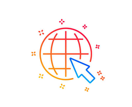 Globe with mouse cursor line icon. World or Earth sign. Global Internet symbol. Gradient design elements. Linear internet icon. Random shapes. Vector Banque d'images - 122772552