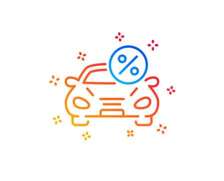 Car leasing percent line icon. Transport loan sign. Credit percentage symbol. Gradient design elements. Linear car leasing icon. Random shapes. Vector