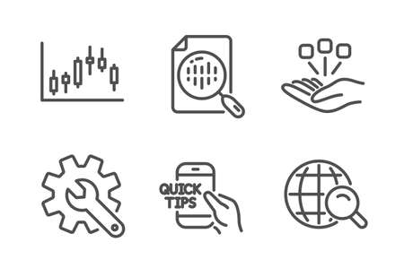 Education, Customisation and Analytics chart icons simple set. Candlestick graph, Consolidation and Internet search signs. Quick tips, Settings. Science set. Line education icon. Editable stroke Illustration