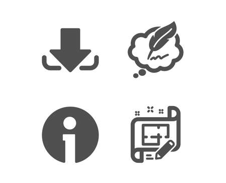 Set of Download, Copyright chat and Info icons. Architect plan sign. Load file, Speech bubble, Information. Engineering plan.  Classic design download icon. Flat design. Vector