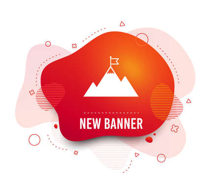 Fluid badge. Flag on mountain icon. Leadership motivation sign. Mountaineering symbol. Abstract shape. Gradient flag on mountain icon. Flyer liquid banner. Vector