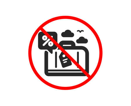 No or Stop. Travel loan percent icon. Trip discount sign. Credit percentage symbol. Prohibited ban stop symbol. No travel loan icon. Vector