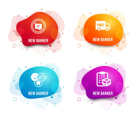 Liquid badges. Set of Stop talking, Like and Free delivery icons. Parcel checklist sign. Do not talk, Social media likes, Shopping truck. Logistics check.  Gradient stop talking icon. Vector Foto de archivo - 121801686