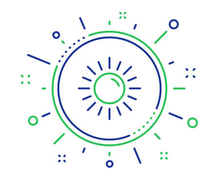 Sun line icon. Hot weather sign. Summer symbol. Quality design elements. Technology sun button. Editable stroke. Vector