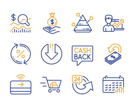 Cashback, Geldüberweisung und 24-Stunden-Symbole einfach eingestellt. Überprüfen Sie die Investition, das Geld und laden Sie die Pfeilzeichen herunter. Erfolgsgeschäft, Einkaufswagen und Kreditprozentsymbole. Cashback-Symbol für Zeile. Vektor