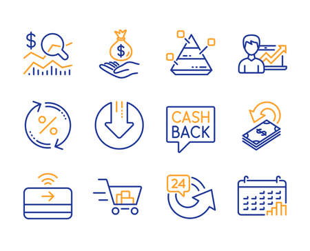 Cashback, Money transfer and 24 hours icons simple set. Check investment, Income money and Download arrow signs. Success business, Shopping cart and Loan percent symbols. Line cashback icon. Vector Illustration