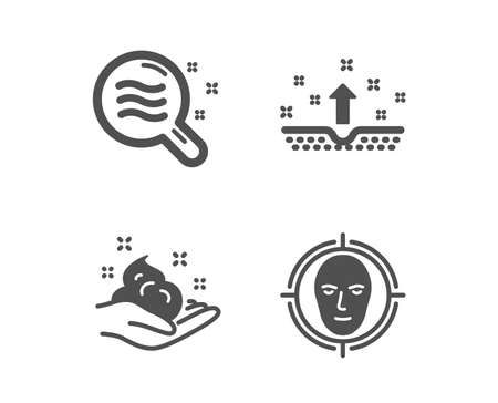 Set of Skin care, Skin condition and Face detect icons. Hand cream, Search magnifier, Cosmetics. Select target.  Classic design skin care icon. Flat design. Vector