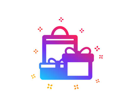 Gift boxes with bag icon. Present or Sale sign. Birthday Shopping symbol. Package in Gift Wrap. Dynamic shapes. Gradient design shopping icon. Classic style. Vector Illustration