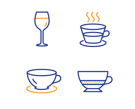 Espresso, Coffee cup and Wine glass icons simple set. Bombon coffee sign. Tea mug, Bordeaux glass, Cafe bombon. Food and drink set. Linear espresso icon. Colorful design set. Vector Vettoriali