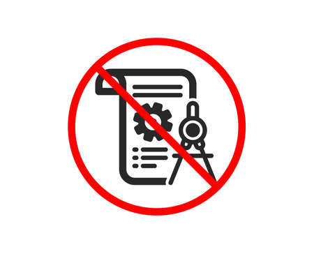 No or Stop. Divider document icon. Engineering cogwheel tool sign. Cog gear symbol. Prohibited ban stop symbol. No divider document icon. Vector Illustration