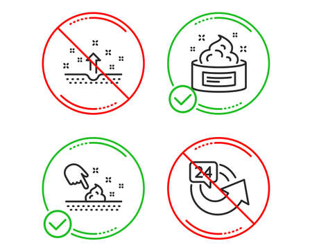 Do or Stop. Clean skin, Skin moisture and 24 hours icons simple set. Cosmetics, Wet cream, Medical cosmetic. Repeat. Beauty set. Line clean skin do icon. Prohibited ban stop. Good or bad. Vector