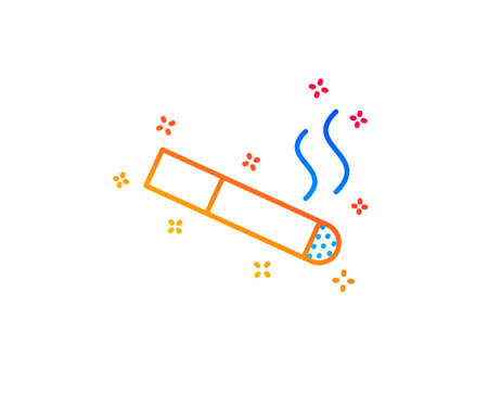 Smoking area line icon. Cigarette sign. Smokers zone symbol. Gradient design elements. Linear smoking icon. Random shapes. Vector