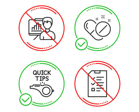 Do or Stop. Presentation board, Tutorials and Medical pills icons simple set. Interview sign. Growth chart, Quick tips, Drugs. Checklist file. Science set. Line presentation board do icon. Vector