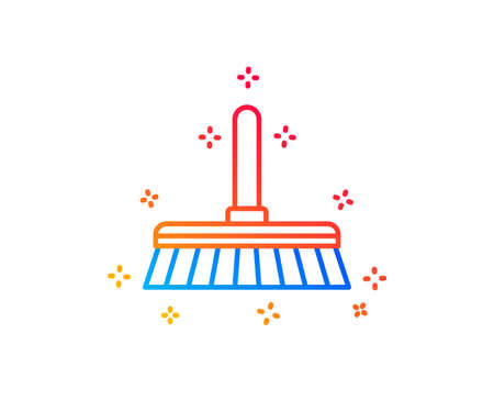 Cleaning mop line icon. Sweep or Wash a floor symbol. Washing Housekeeping equipment sign. Gradient design elements. Linear cleaning mop icon. Random shapes. Vector Ilustrace