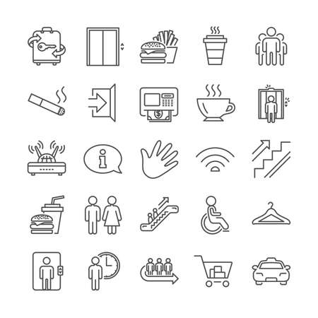 Public Services, Wifi line icons. Cloakroom, Elevator and Taxi icons. Exit, ATM and Escalator. Wifi, Lift or elevator, Restaurant food. Public cloakroom, information, coffee and smoking. Vector Ilustração