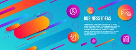 Header banner. Headhunting, Fragile package and Secure mail icons simple set. Phone repair, Like and Payment signs. Person in target, Safe shipping. Business set. Line headhunting icon. Vector