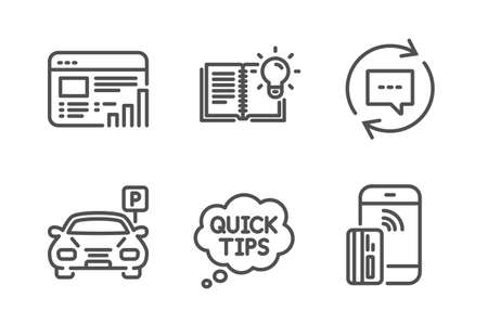 Web report, Update comments and Quick tips icons simple set. Parking, Product knowledge and Contactless payment signs. Graph chart, Chat speech bubble. Technology set. Line web report icon. Vector Illustration