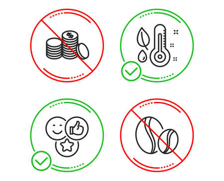 Do or Stop. Like, Thermometer and Banking money icons simple set. Coffee beans sign. Social media likes, Grow plant, Cash finance. Whole bean. Line like do icon. Prohibited ban stop. Good or bad