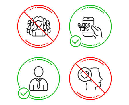 Do or Stop. Education, Women group and Human icons simple set. Romantic talk sign. Quick tips, Lady service, Person profile. Love chat. People set. Line education do icon. Prohibited ban stop. Vector