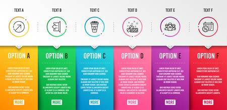 Takeaway coffee, Teamwork and Sign out icons simple set. Present, Direction and Calendar discounts signs. Hot latte drink, Group of users. Business set. Infographic template. 6 steps timeline. Vector